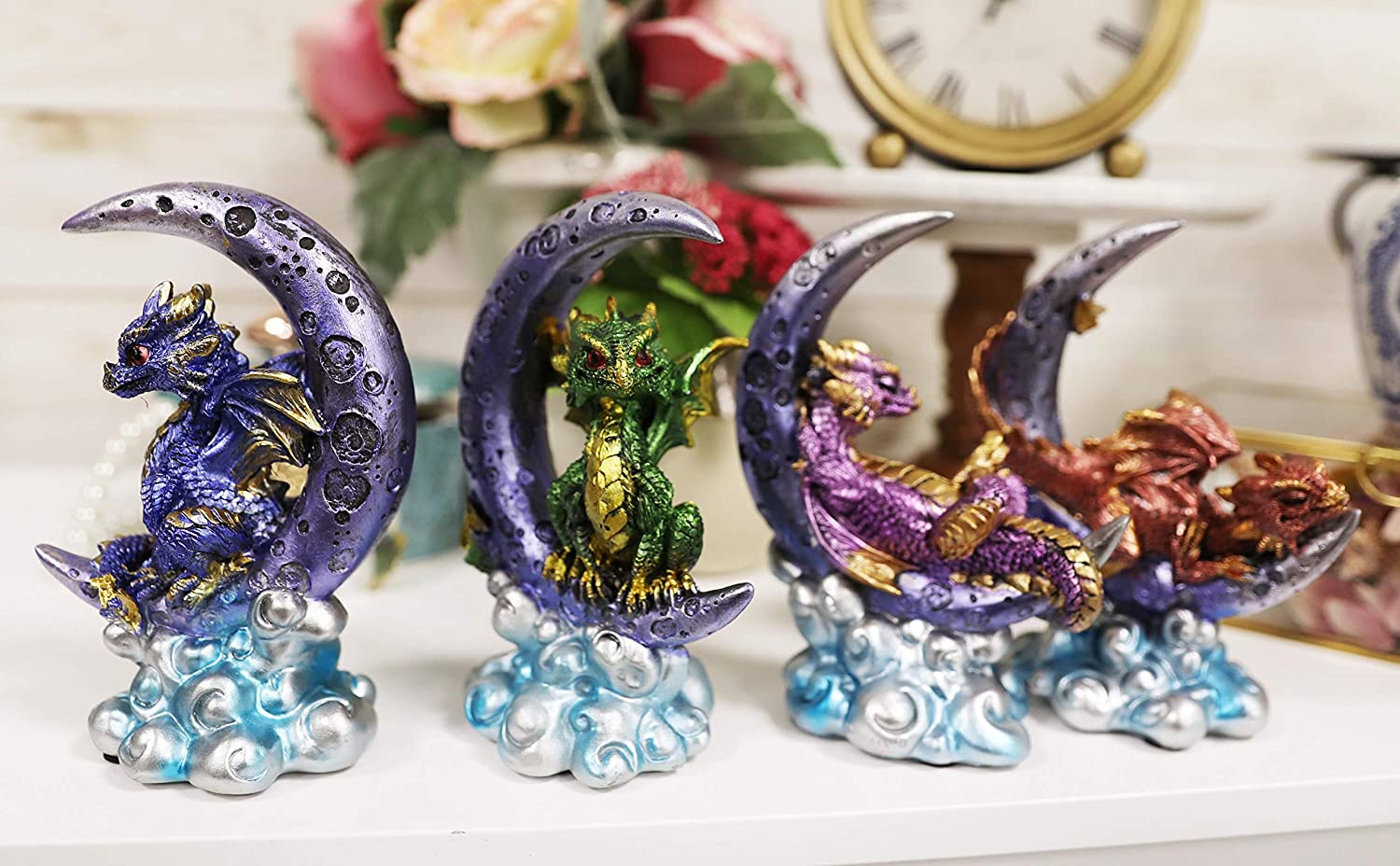 Ebros Celestial Crescent Moon On Dragon Guardian Clouds Cash special price Same day shipping Resting