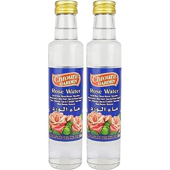 Chtoura Garden - Orientalisches Rosenwasser ideal zum Backen und Kochen - Blütenwasser zur Aromatisierung von Süßspeisen, Backwaren und Getränken im 2er Set á 250 ml Glasflasche
