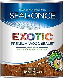SEAL-ONCE EXOTIC Premium wood sealer, waterproofer & stain 1-Gallon. Enhanced formula for denser Brazilian hardwoods like Ipe, Teak & Mahagony. Water-based, ultra-low VOC, non-toxic, 11 color tints.
