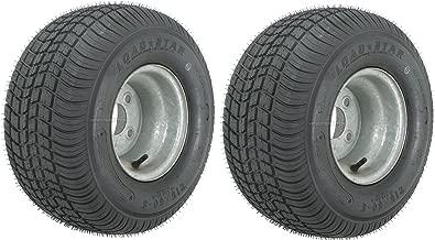 2-Pack Trailer Tires On Galvanized Rims 18.5-8.5-8 215/60-8 Load C 4 Lug