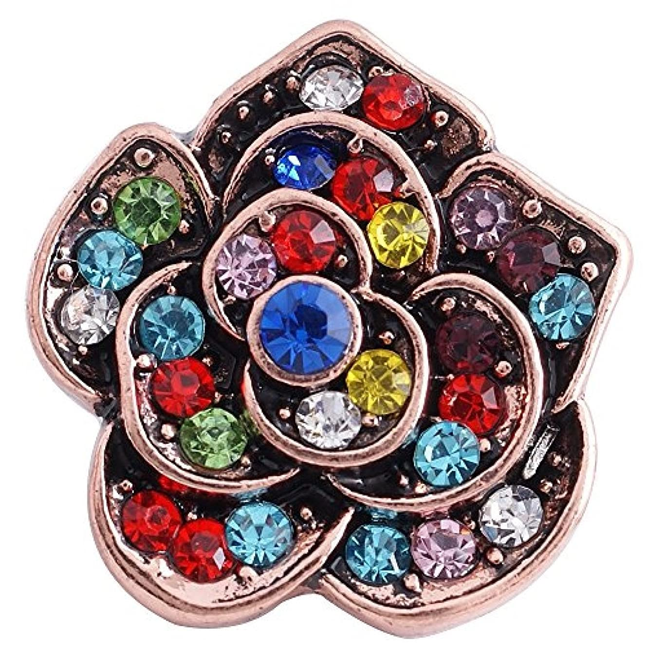 My Prime Gifts Interchangeable 18mm Snap Jewelry Rhinestone Flower Rose Gold Multicolor