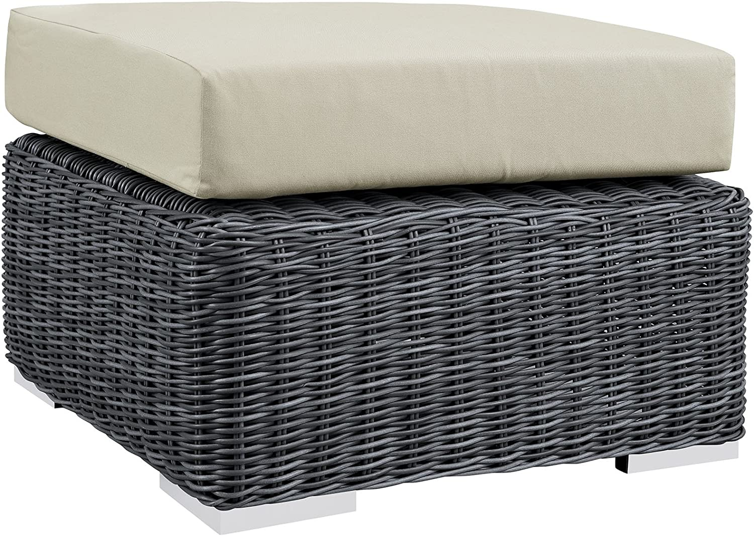 Modern Contemporary Outdoor Free shipping Patio Fabric Synthe Ottoman Max 87% OFF Beige