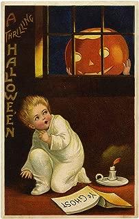 Frightened Child Sees Huge Jack-O'-Lantern Vintage Halloween Pumpkin Metal Tin Sign 8X12 Inch