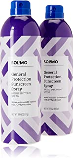 Amazon Brand - Solimo General Protection Continuous Sunscreen Spray Broad Spectrum SPF 50, 11 Ounce (Pack of 2)