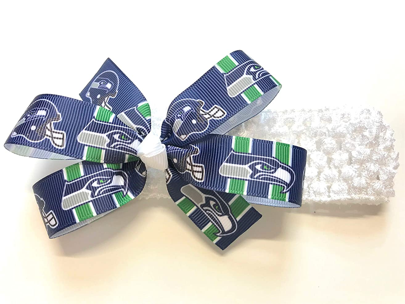 Baby Girls NFL Seattle Seahawks Headband Newborn Girls Seattle Seahawks Football Hair Bow