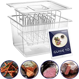 Geesta Sous Vide Container with Stainless Steel Rack and Lid Set -Family 12 Qt Cooker Accessories and Adjustable No-Float Top Bar for Anova, Nano, Joule and Most Circulators