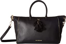 Leather Tote with Tassel