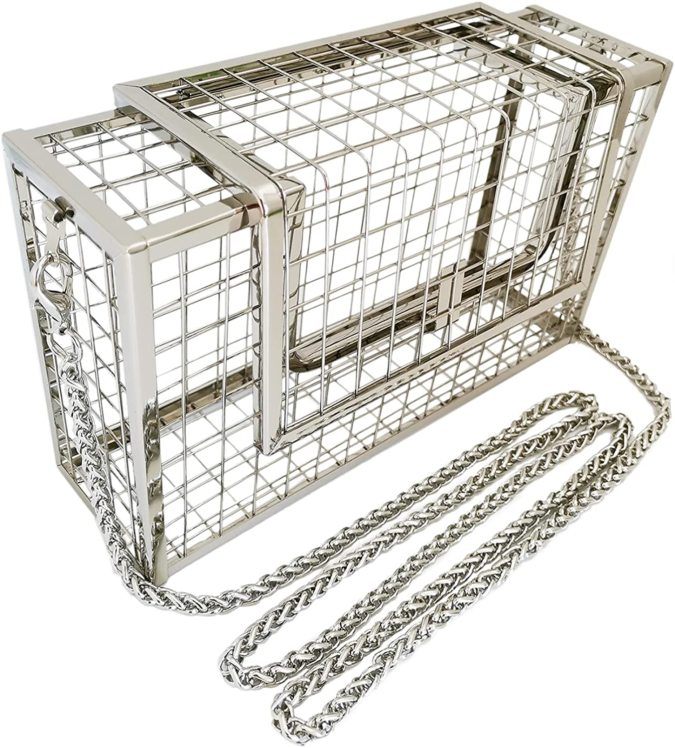 Women Square Cage Metal Evening Clutch Wome Caged Bag New popularity for Attention brand Purse