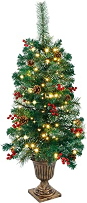 Crestwood Spruce Entrance Tree with Clear Lights National Tree CW7-306C-40 4 Ft