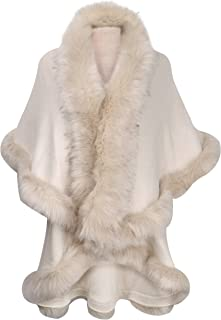 Women Fine Knit Open Front Faux Fur Trim Layers Poncho Cape Cardigan Sweater