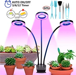 IMAGE Grow Light with Timer for Indoor Plants,Auto On/off 30W LED Grow Light Bulbs Red Blue Spectrum Dimmable Plant Light with Base Clip for Hydroponics Vegetable Flowers Succulents Seedlings Starting