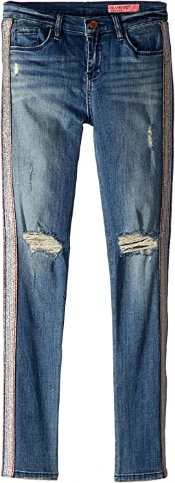 Distressed Denim Skinny w/ Rainbow Embellishment in Razzle Dazzle (Big Kids)