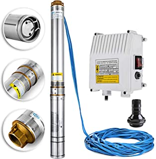 Happybuy Well Pump 1.5 HP 220V Submersible Well Pump 335ft Head 24GPM Stainless Steel Deep Well Pump for Industrial and Home Use