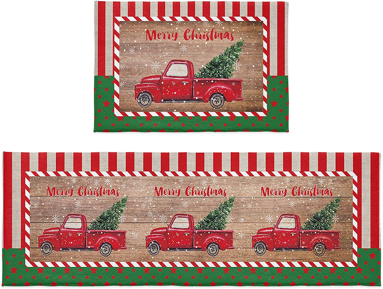 Kitchen Rug Sets 2 Piece Merry Stars Truck Outlet ☆ Free Shipping Tree Plush Christmas Directly managed store