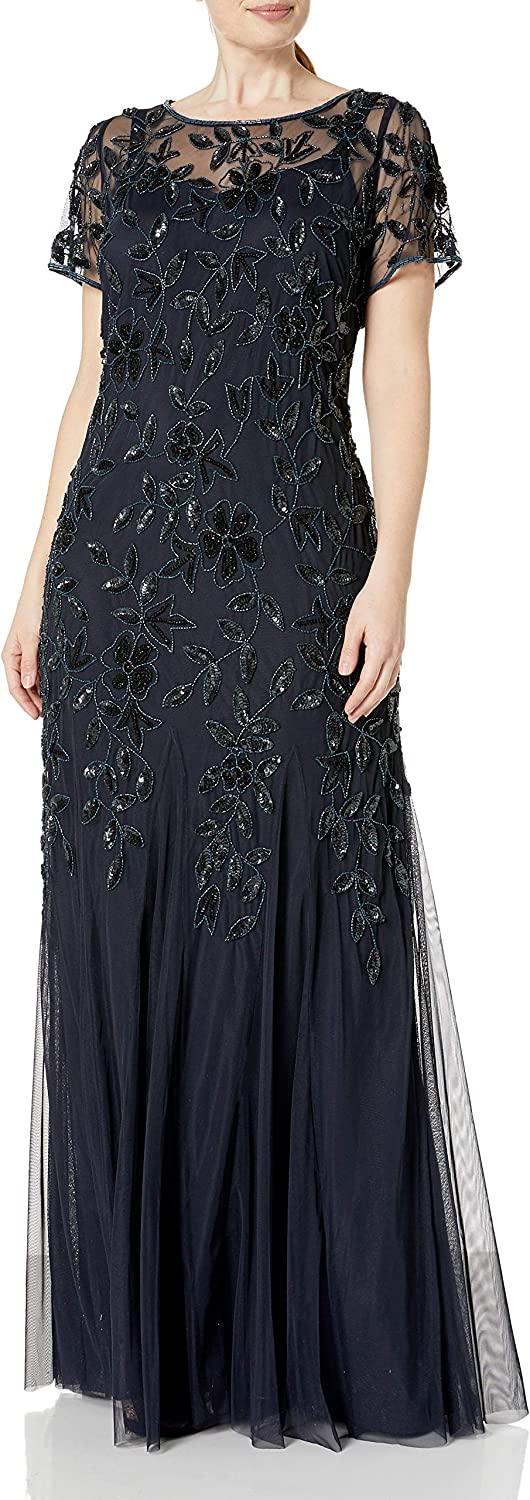 Adrianna Papell Women's Plus-Size Floral Beaded Gown with Godets