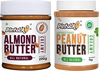 Pintola All Natural Peanut Butter (Creamy) (1 kg) (Unsweetened, Non-GMO, Gluten Free, Vegan) + Pintola All Natural Almond ...