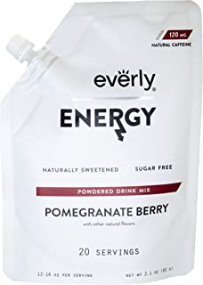 Everly Energy - Natural Energy Drink Mix Powder, Sugar Free, Natural Sweeteners, Organic Caffeine, Keto Diet, Water Flavoring & Enhancer - Pouch, 20 Servings, Pomegranate Berry