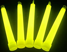 "Glow Sticks Bulk Wholesale, 100 6"" Industrial Grade Yellow Light Sticks, Bright Color, Glow 12-14 Hrs, Safety Glow Stick with 3-Year Shelf Life, GlowWithUs Brand"