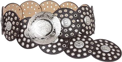 """Women's 3 1/2"""" (90 mm) Wide Boho Disc Concho Leather Belt"""