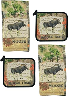 4 Piece Wilderness Moose Kitchen Set - 2 Terry Towels and 2 Potholders