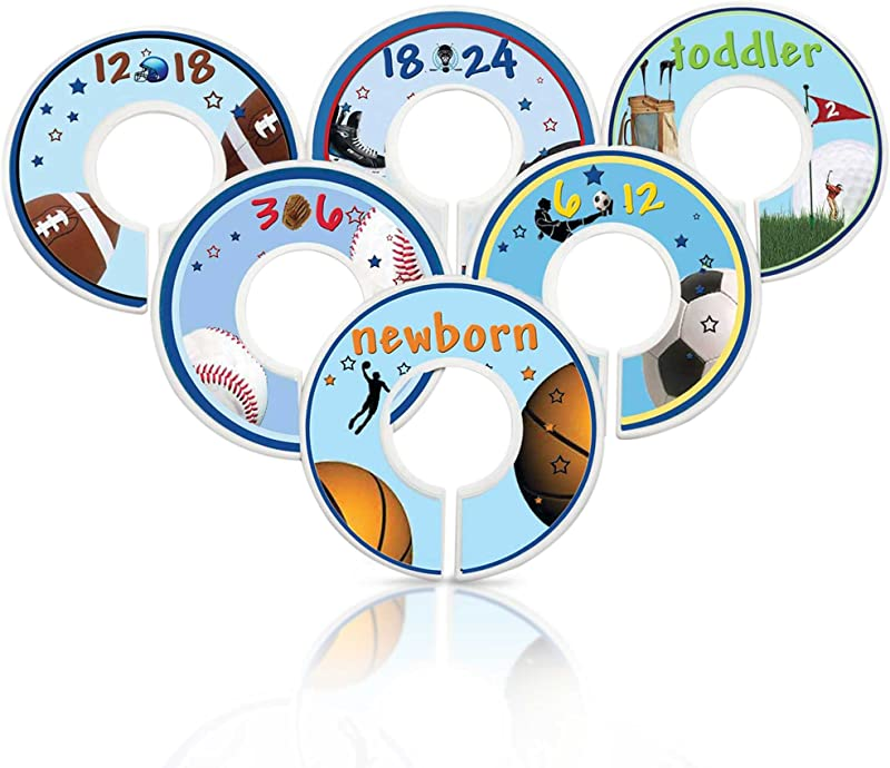 Mumsy Goose Nursery Closet Dividers Baby Boy Sports Theme Baby Clothes Organizers