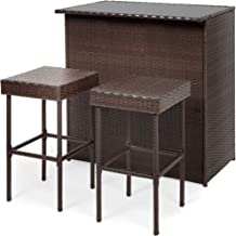 Best Choice Products 3-Piece All-Weather Wicker Bar Table Set for Indoor Outdoor, Kitchen, Patio, Backyard w/ 2 Stools, Gl...