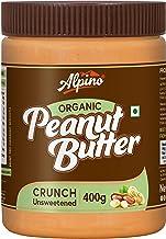 Alpino Organic Natural Peanut Butter Crunch 400 G | Unsweetened | Made with 100% Roasted Organic Peanuts | No Added Sugar | No Added Salt | No Hydrogenated Oils | 100% Non-GMO | Gluten-Free | Vegan