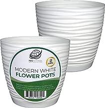 Form Plastic - Modern White Plastic Flower Pot - 2 Pack