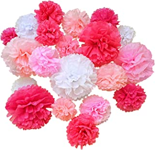 Hullabaloo Party 20 Pcs Premium Tissue Paper Pom Poms, Pink Mix Paper Flowers, Wedding and Baby Shower Decorations, Table and Wall Decor, Birthday and Nursery