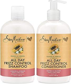 SheaMoisture Shampoo and Conditioner Shampoo For Women Papaya & Neroli All Day Frizz Control 13 oz 2 Count