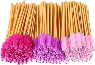 150pcs Disposable Mascara Wands Multicolor Eyelash Brush Makeup Applicators Kit, Eyelash Extension Supplies, Gold Handle, Pink, Rose, Purple Head