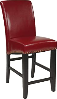 Office Star Metro Bonded Leather Parson's Counter-Height Bar Stool with Nailhead Accents, 24-inch, Red