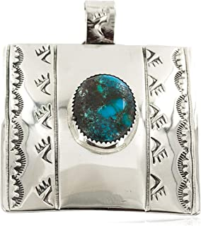 $480Tag Certified Nickel Bear Paw Nickel Navajo Turquoise Native Pendant 13071-2 Made by Loma Siiva