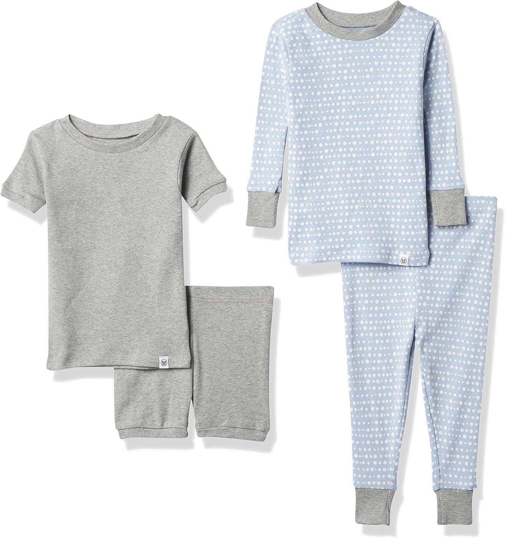 HonestBaby 4-Piece Organic Cotton Short and Long PJ Set, Kentucky Blue Linear Dot, 12 Months