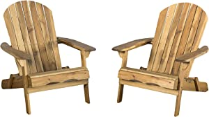 Christopher Knight Home 296698 Milan Brown Outdoor Folding Adirondack Chair (Set of 2), Set of Two, Natural Wood