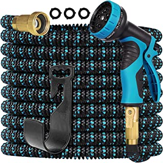 Gardguard 50ft Expandable Garden Hose Water Hose with 9 Function Nozzle and Durable 3-Layers Latex, Water Hose with Solid ...