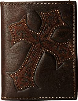 M&F Western Large Tooled Cross Overlay Bi-Fold Money Clip