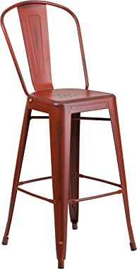 """Flash Furniture Commercial Grade 30"""" High Distressed Kelly Red Metal Indoor-Outdoor Barstool with Back"""