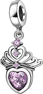 Hearts Tiara Dangle Charm Pendant with Cz 925 Sterling Silver Princess Crown Beads for Charms Bracelet