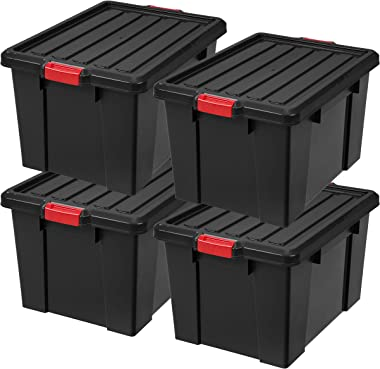 IRIS USA, Inc. SK-700 Heavy Duty Latch Tote with Lid, 72 Quart, Black, 4 Pack