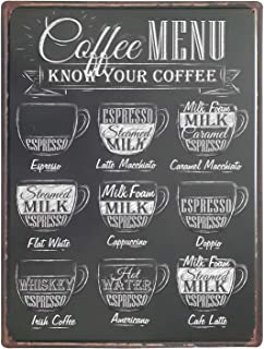 Art Street Coffee MENU Retro Metal Tin Signs Art Poster Vintage Decorative Coffee Plates for Bar Pub Cafe Wall Décor -12x16 Inches