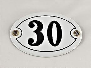 Emaille huisnummer bord nr. 30, ovaal, wit-zwart Nr. 30 / oval/Weiß-Schwarz + Schrauben und Dübel