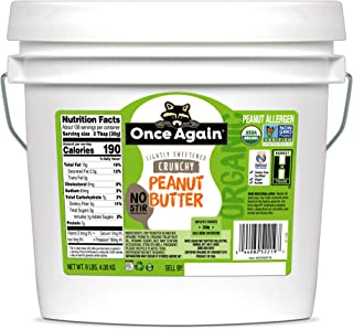Once Again Organic, Crunchy Peanut Butter - American Classic, No Stir - Lightly Sweetened - 9 lb Bucket