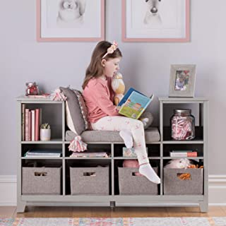 MARTHA STEWART Living and Learning Kids' Reading Nook - Gray: Wooden Storage Bookcase Organizer with Seat Cushion, Book Sh...
