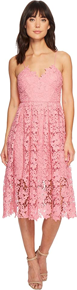 Donna Morgan Spaghetti Strap Lace Midi Dress