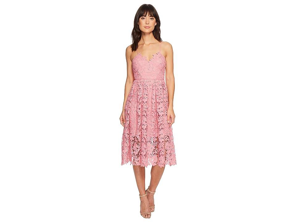 Donna Morgan Spaghetti Strap Lace Midi Dress (Pink Sherbet) Women