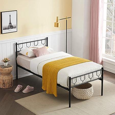 Symylife Lit Simple, Cadre de lit en métal avec Lattes Solides, pour Matelas 90x190cm, Cadre de lit pour Adultes, Enfants, sans sommier, Noir