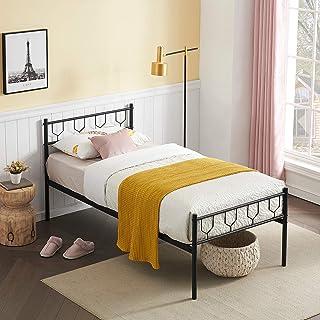 Symylife Lit Simple, Cadre de lit en métal avec Lattes Solides, pour Matelas 90x190cm, Cadre de lit pour Adultes, Enfants,...