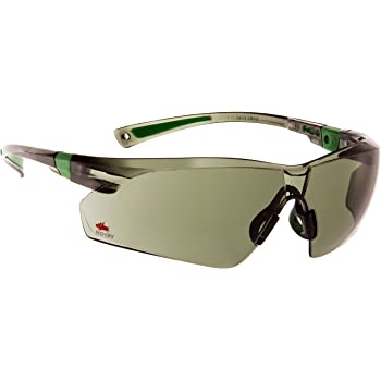 NoCry Work and Sports Safety Sunglasses with Green Tinted Scratch Resistant Wrap-Around Lenses and No-Slip Grips, UV 400 Protection. Adjustable, Black & Green Frames
