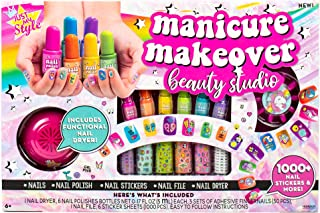 Just My Style Manicure Makeover Beauty Studio by Horizon Group USA, Nail Art for Kids, Includes Nail Dryer, 2000+ Nail Sti...